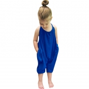 Lovely Trendy Pocket Patched Blue Girl One-piece Jumpsuit