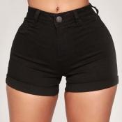 Lovely Trendy Buttons Design Black Shorts
