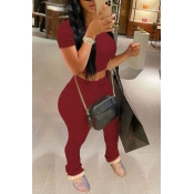 Lovely Casual Fold Design Wine Red Two-piece Pants Set