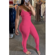 Lovely Trendy Fold Design Rose Red One-piece Jumpsuit