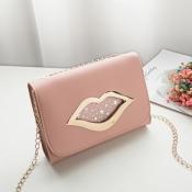 Lovely Stylish Lip Pink Messenger Bag