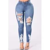 Lovely Chic Hollow-out Deep Blue Plus Size Jeans