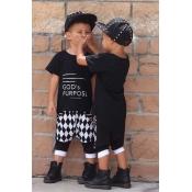 Lovely Trendy Letter Print Black Boy Two-piece Shorts Set