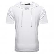 Lovely Sportswear Hooded Collar White T-shirt