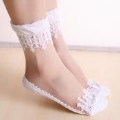 Lovely Sweet Patchwork White Socks