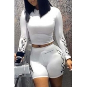 Lovely Casual Print White Two-piece Shorts Set