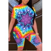 Lovely Leisure Tie-dye Multicolor Two-piece Shorts