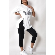 Lovely Casual Letter White Two-piece Pants Set