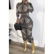 Lovely Trendy Print Brown Mid Calf Dress