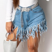 Lovely Trendy Tassel Design Baby Blue Shorts
