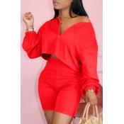 Lovely Casual Zipper Design RedTwo-piece Shorts Set
