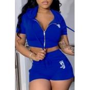 Lovely Sportswear Zipper Design Blue Two-piece Shorts Set