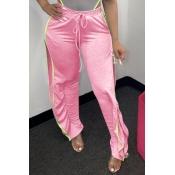 Lovely Casual Side High SlitPink Pants