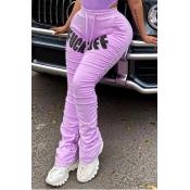 Lovely Casual Letter Print Light Purple Pants