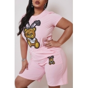 Lovely Casual Cartoon Print Pink Plus Size Two-pie