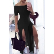 Lovely Stylish Side High SlitBlack Maxi Dress