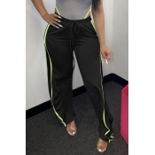 Lovely Leisure Side High Slit Black Pants