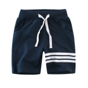 Lovely Casual Lace-up Blue Boy Shorts