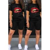 Lovely Leisure Lip Print Black Two-piece Shorts Se