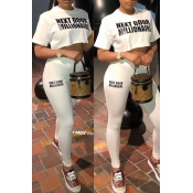 Lovely Leisure Letter Print White Two-piece Pants