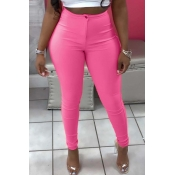 Lovely Casual Buttons Design Pink Pants