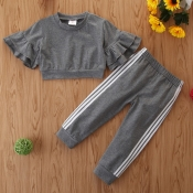 Lovely Stylish Patchwork Grey Girl Two-piece Pants