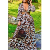 Lovely Sexy V Neck Print Multicolor Maxi Plus Size