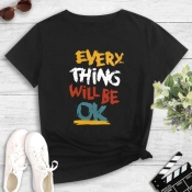 Lovely Leisure O Neck Letter Print Black T-shirt