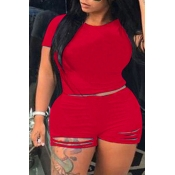 Lovely Trendy Hollow-out Red Plus Size Two-piece Shorts Set