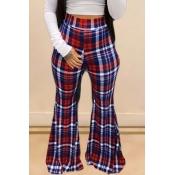 Lovely Trendy Grid Print Red Pants