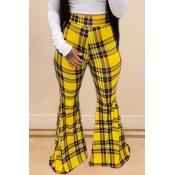 Lovely Trendy Grid Print Yellow Pants