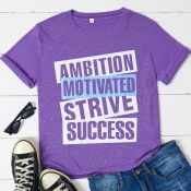 Lovely Casual O Neck Letter Print Purple T-shirt