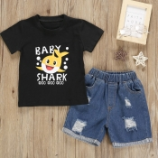 Lovely Leisure Cartoon Print Black Boy Two-piece S