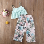 Lovely Stylish Plants Print Baby Blue Girl Two-pie