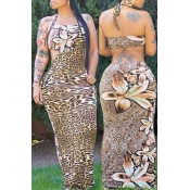 Lovely Sexy Leopard Print Maxi Plus Size Dress