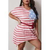 Lovely Casual O Neck Striped Red Mini Plus Size Dr