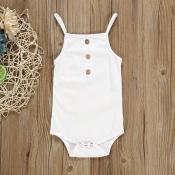 Lovely Casual Buttons Design White Girl Bodysuit