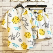 Lovely Leisure Letter Print White Two-piece Shorts