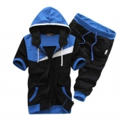 Lovely Sportswear Patchwork Blue Two-piece Shorts