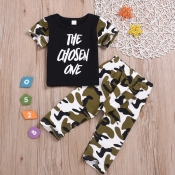 Lovely Casual Letter Print Black Boy Two-piece Pan