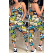 Lovely Trendy Cartoon Print Blue One-piece Jumpsuit