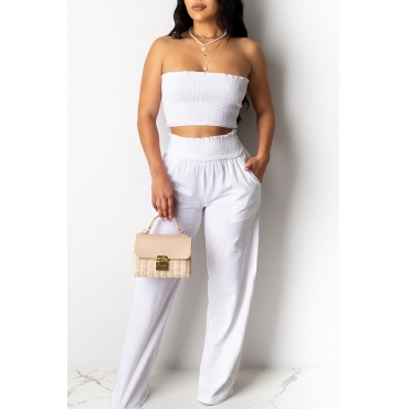 Lovely Trendy Dew Shoulder White Two-piece Pants Set