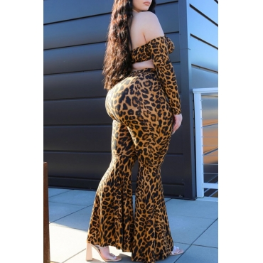 Lovely Stylish Leopard Print Plus Size Two-piece Pants Set