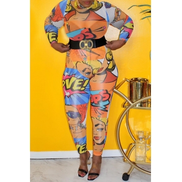 Lovely Stylish Print Multicolor Plus Size One-piece Jumpsuit