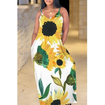 Lovely Bohemian V Neck Sunflower Print Yellow Maxi Dress