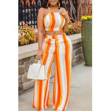 Lovely Bohemian Striped Orange Two-piece Pants Set