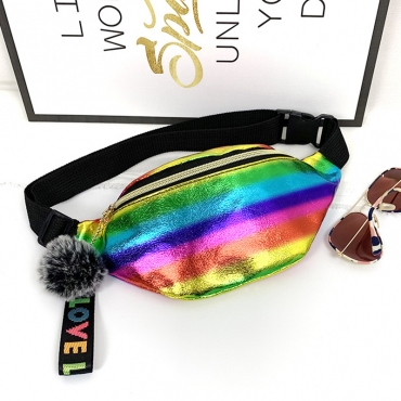 Lovely Trendy Rainbow Striped Multicolor Crossbody Bag
