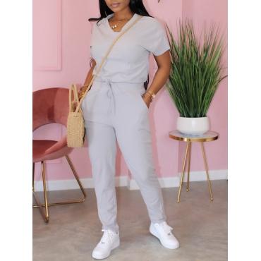 Lovely Sportswear V Neck Lace-up Grey Two-piece Pants Set