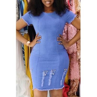 Lovely Casual O Neck Broken Holes Baby Blue Mini Dress