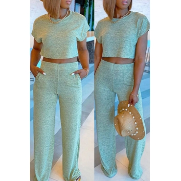 Lovely Leisure O Neck Basic Grass Green Two-piece Pants Set